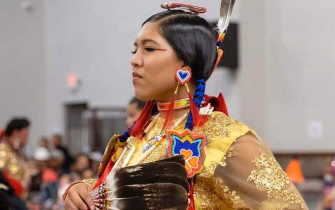 Natha Little Crow, an Otoe-Missouria dancer who won a virtual dance special sponsored by a Lakota Sioux family, performs at the Comanche Nation Fair in September 2019.