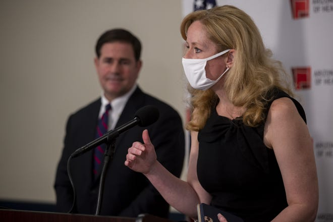 Arizona Department of Health Services Director Dr. Cara Christ speaks during a news conference regarding the COVID-19 pandemic on Aug. 13, 2020, at the Arizona Department of Health Services in Phoenix.