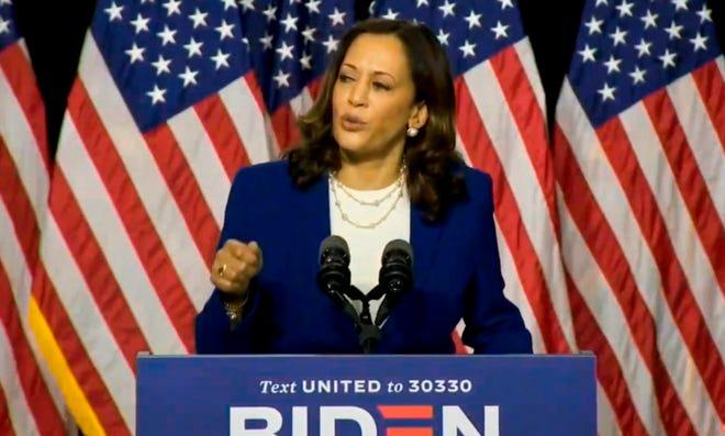 Imagen tomada de la transmisión en vivo de Biden Harris muestra a la senadora de California Kamala Harris hablando después de ser presentada como candidata a vicepresidenta de los EE. UU en Wilmington, Delaware, EE. UU., 12 de agosto de 2020.