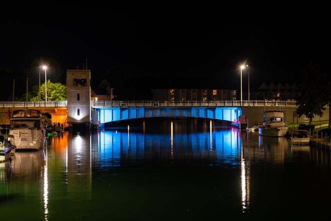 The Seventh Street Bridge in Port Huron is seen illuminated Wednesday night, Aug. 12, 2020. All three of the city's drawbridges are expected to receive multi-colored LED lighting.