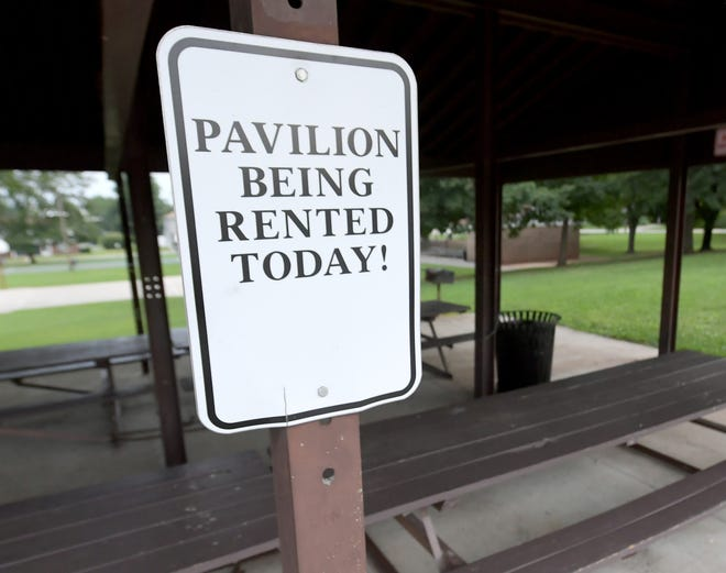 Mount Wolf Community Park Thursday, August, 13, 2020. Mount Wolf Borough is requiring that all groups that reserve the pavilion or other area at the park sign an indemnification waiver in the event anyone contracts COVID-19 while attending. Bill Kalina photo