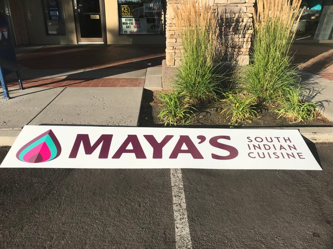 The sign for Maya's South Indian Cuisine in South Reno awaits hanging early in the morning of Aug. 13, 2020.