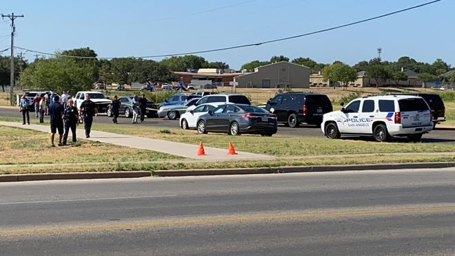 San Angelo police an Texas Department of Public Safety prepare for a press conference at the dog park, 3215 Millbrook Drive, regarding a suicide on Thursday, Aug. 13, 2020.