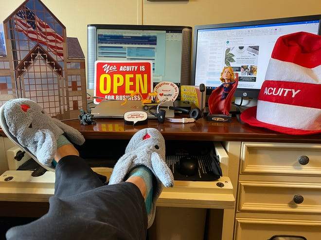 Acuity employees were given Acuity-themed bunny slippers to wear while working from home.
