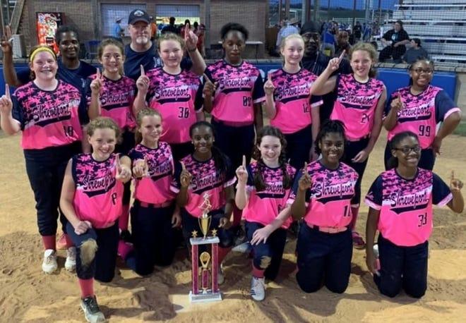 The Shreveport 12 and Under softball team recently won the 2020 state Kate Foreman, Leigha Gilbert, Ella Hendrick, Baleigh Haulcy, Kennedi Dixon, Sarah Foreman, Kristeena Haley, Abby Pou, Raylee King, Emma Robinson, Zariah Bogan, Julia Davis and Kendall Hamon. The coaching staff included Wendy King, Ben Robinson and Chris Haley.
