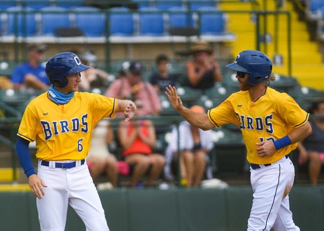 Logan Landon mimes a high five with Grant Kay after scoring a run in a Canaries game against the St. Paul Saints on Wednesday August 12, at the Birdcage in Sioux Falls.
