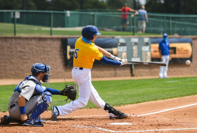 Logan Landon hits a single during a Canaries game against the St. Paul Saints on Wednesday August 12, at the Birdcage in Sioux Falls.