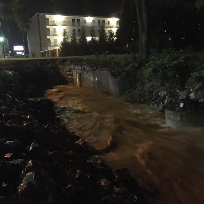 A view of Lewis Creek near the Pump Street bridge at 9 p.m. Wednesday.