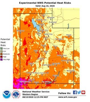 A look at Utah's estimated heat map for August 16, 2020. The St. George area is listed as a 'very high' heat risk.
