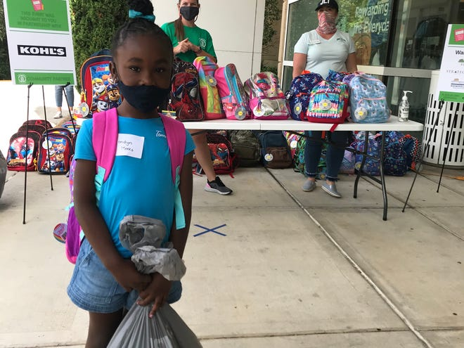 Leon County student, Londyn Meeks picks out a new backpack filled with school supplies after finishing her shopping experience at the 24th Annual Junior League Kids' Boutique event at Kohl's on Sunday.