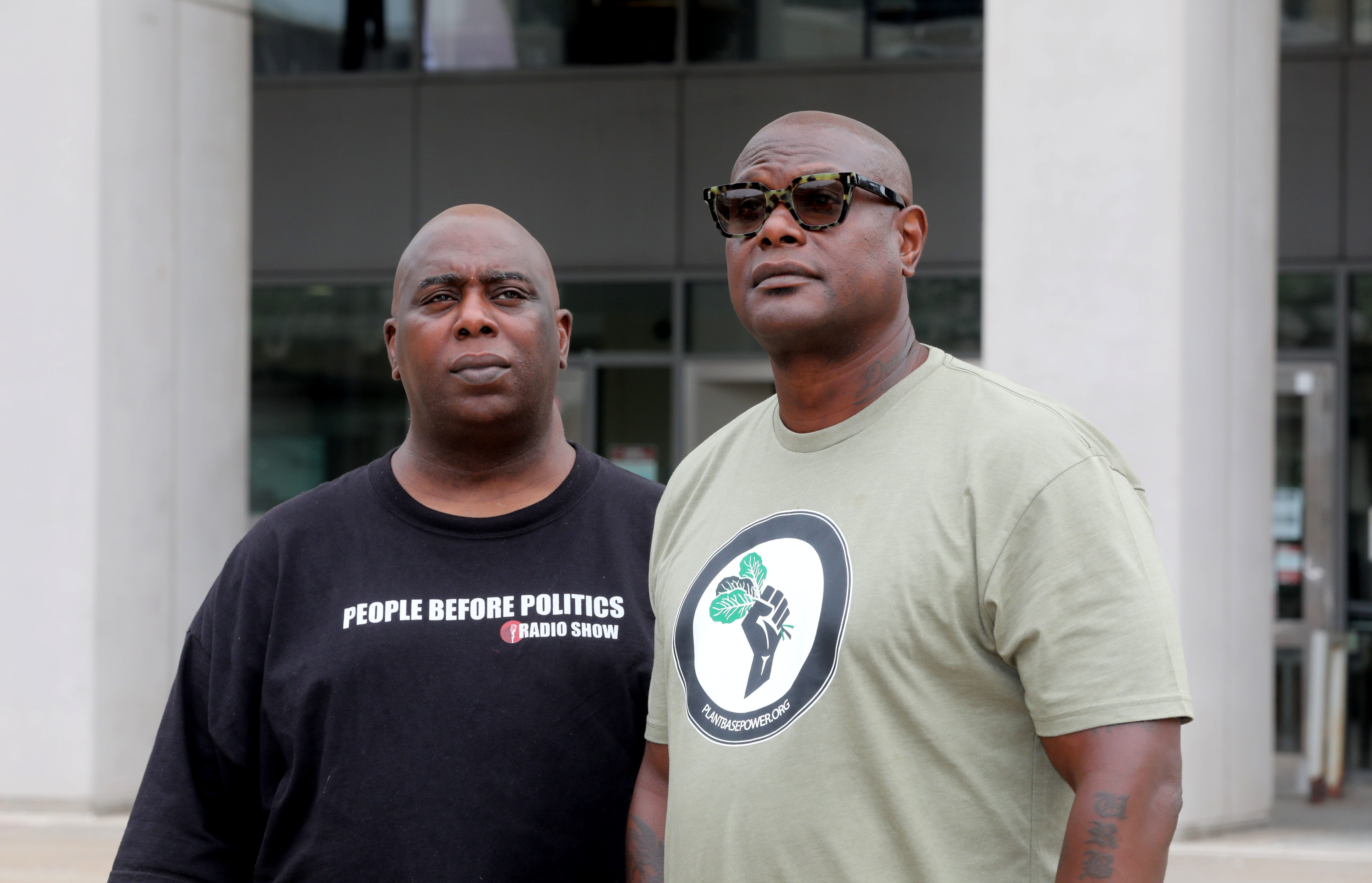 AJ Woodson, left, and Damon Jones, run Black Westchester, a website that addresses issues concerning people of color in Westchester County. The two, photographed in White Plains Aug. 13, 2020, also publish Black Westchester Magazine.