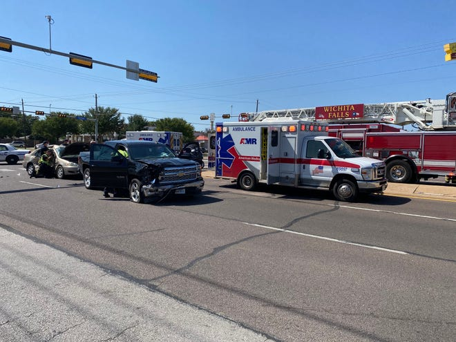 Wichita Falls emergency responders work the scene of a major accident Thursday afternoon.
