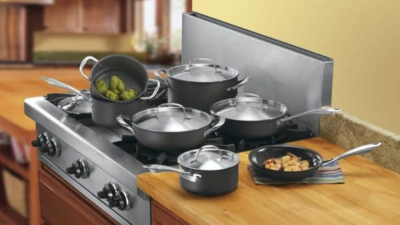 You can purchase sets of Cuisinart cookware from Home Depot.