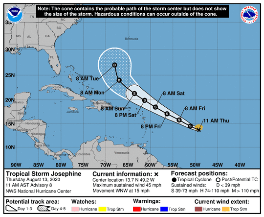 The projected forecast path of Tropical Storm Josephine.