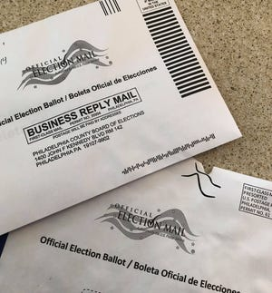 A mail-in ballot issued by the Philadelphia County Board of Elections