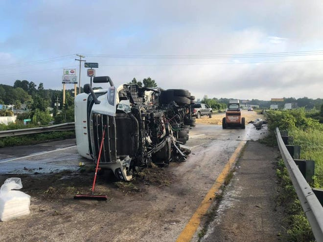 An overturned tractor-trailer on Interstate 95 rerouted traffic near Ridgeland on Friday morning.