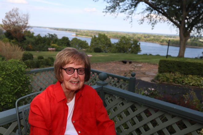 Elaine Baxter relaxes on her porch Thursday in Burlington. Baxter was the first woman on the Burlington City Council and went on to serve in the Iowa House and as Iowa's Secretary of State from 1986 to 1994.