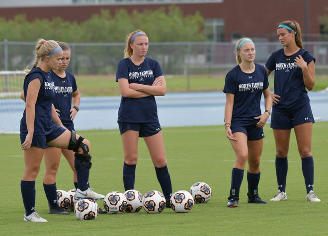 UNF women's soccer players take a break during practice in 2019. The ASun Conference has postponed its fall sports seasons, including soccer, for member schools including Jacksonville University and UNF. [Will Dickey/Florida Times-Union]
