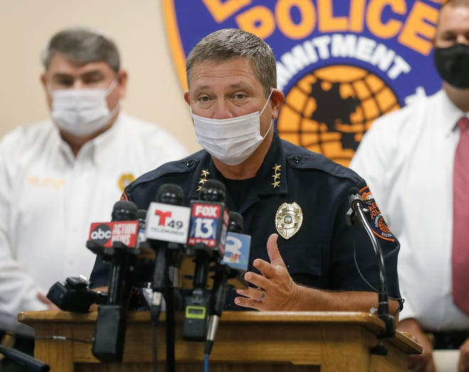 Lakeland Police Chief Ruben Garcia speaks during a media briefing at the police department Friday. The press conference announced the arrest of Felix Noel Molina, charged with two counts of first-degree murder in the beating deaths of his parents, Francisco and Irma Molina, at their home in Kings Manor Mobile Home Park. [PIERRE DUCHARME/THE LEDGER]