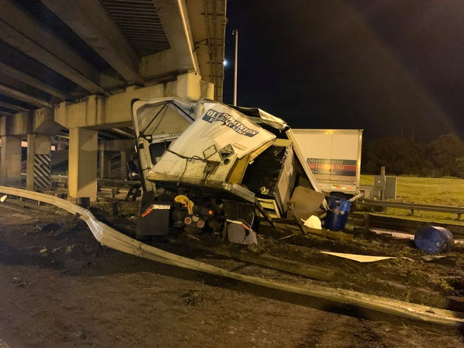 Two semis  collided early Friday morning, injuring one person and closing SR 33 for hours at the I-4 overpass.