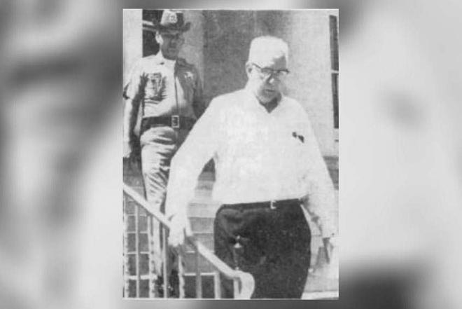 Russell Stackhouse, then 72, leaves the Highlands County Courthouse on April 12, 1965, 12 years after his wife was found murdered. [PROVIDED PHOTO/TAMPA BAY TIMES]
