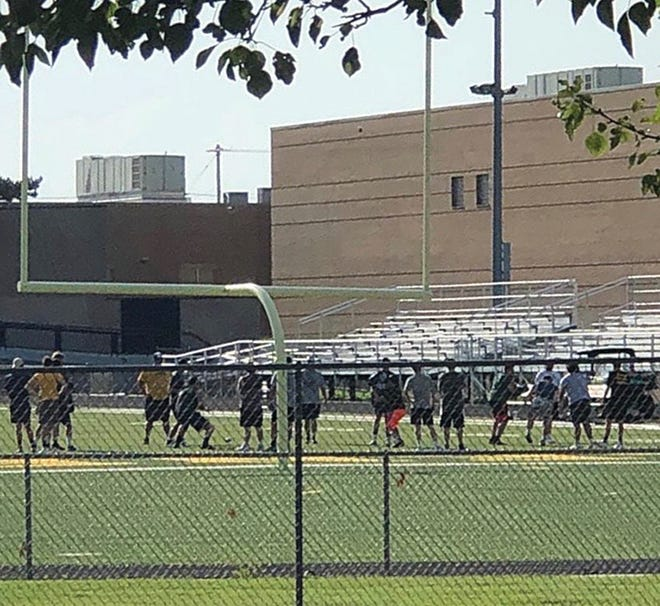 Pratt High School football players participate in summer training camp in preparation for the 2020 fall season.
