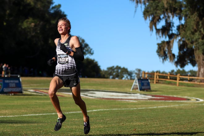 Nease sophomore Rheinhardt Harrison won the Classs 4A cross country title last fall after finishing in 15:24.6 at Apalachee Regional Park in Tallahassee.