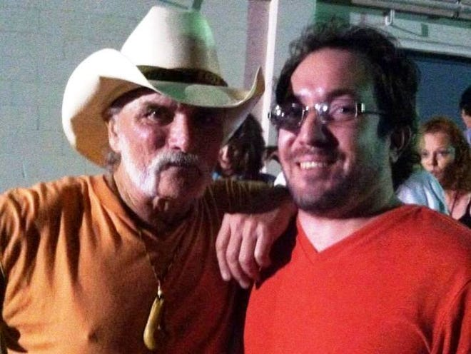 Dickey Betts, left, and Wade Tatangelo backstage at Robarts Arena in Sarasota in 2013.