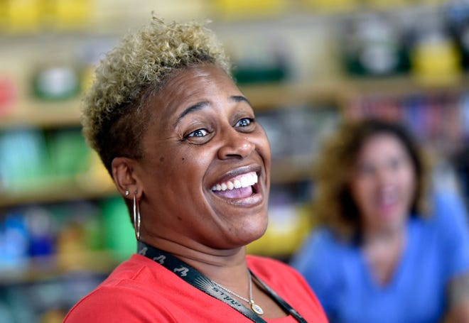 "Ronnique Major-Hundley, seen here in a photo from ""meet the teacher"" day in 2019, teaches fifth grade at Emma E. Booker Elementary School. Major-Hundley is preparing for a year unlike any other, as teachers in Sarasota return to the classroom on Monday. [HERALD-TRIBUNE ARCHIVE / 2019 / THOMAS BENDER]"