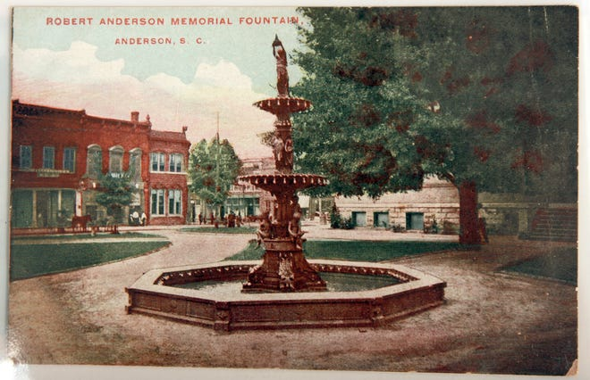 """A scene around the 1940s of """"Robert Anderson Memorial Fountain"""" in Anderson, S.C., a postcard in the collection of Fred Whitten of Anderson. Whitten, who lived to age 94, passed away in 2013 and was a World War II veteran, local historian. He collected postcards of Anderson area scenes, sharing them in 2008 with the Independent Mail for readers to see. The fountain, originally built in 1905, removed from behind the current Historic Anderson County Courthouse, was renovated and placed next to the Anderson County Museum on Greenville Street in Anderson."""