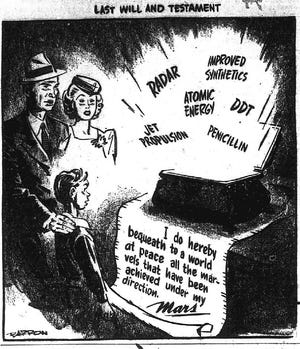 This editorial cartoon, which appeared in The Gleaner of Aug. 21, 1945, lists a half-dozen technological achievements made during World War II that held promise for peacetime.