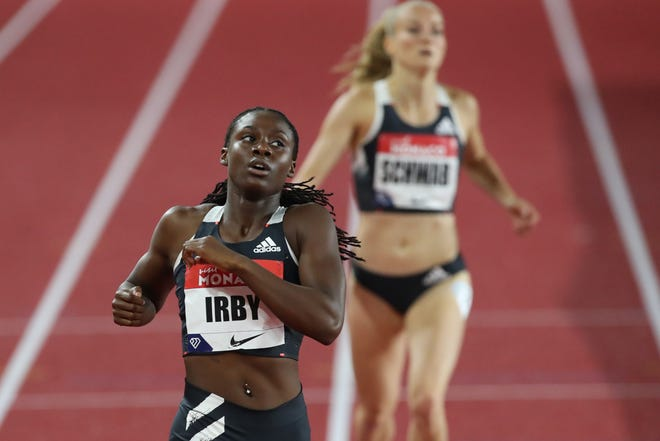 First-placed Lynna Irby of the US competes in the women's 400metre event during the Diamond League Athletics Meeting at The Louis II Stadium in Monaco on August 14, 2020.