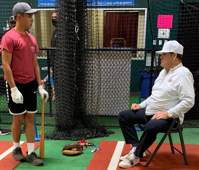 Major League Baseball's all-time hits leader Pete Rose spent eight hours over two days last month near his home in Las Vegas providing private hitting lessons to Ontario freshman Peyton Dzugan.