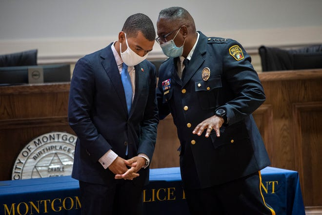 Montgomery Mayor Steven Reed and Police Chief Ernest Finley speak during a Montgomery Police Department promotional ceremony at City Hall in Montgomery, Ala., on Friday, Aug. 14, 2020.