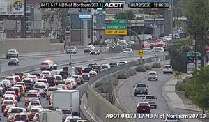 Traffic backed up after a fatal crash on Interstate 17 near Dunlap Avenue on Aug. 13, 2020.