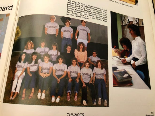 """The staff of """"The Challenge"""" at Thunderbird High School in Phoenix shown in the yearbook in 1983, the same year the name of the newspaper was changed."""