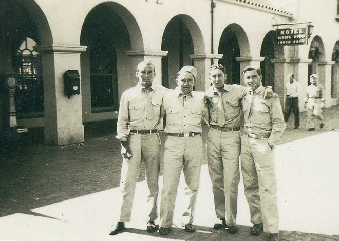 Eugene Bissell, far right, flew 50 combat missions in the Mediterranean Theater of Operations during World War II.