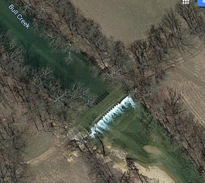 Satellite view shows the crossing on Bull Creek where three paddlers drowned earlier this year in separate incidents.