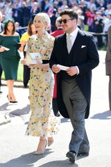 Oscar nominee Carey Mulligan, left, and husband Marcus Mumford attend the wedding of Prince Harry and Duchess Meghan in 2018.
