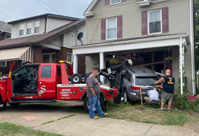 A gray Jeep crashed into a Beaver Falls home along Seventh Avenue sometime Saturday morning at the intersection where the Eastvale Bridge on Fourth Street meets Seventh. No further information has been released.