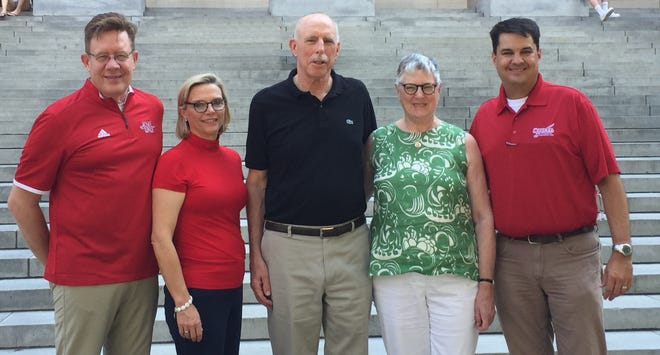 Mary Alice and James Van Sickle (center) donated money for 10 professorships and 10 scholarships at Nicholls State University in Thibodaux. With them are (left) Nicholls President and first lady Jay and Allison Clune and (right) Nicholls Foundation Executive Director Jeremy Becker.