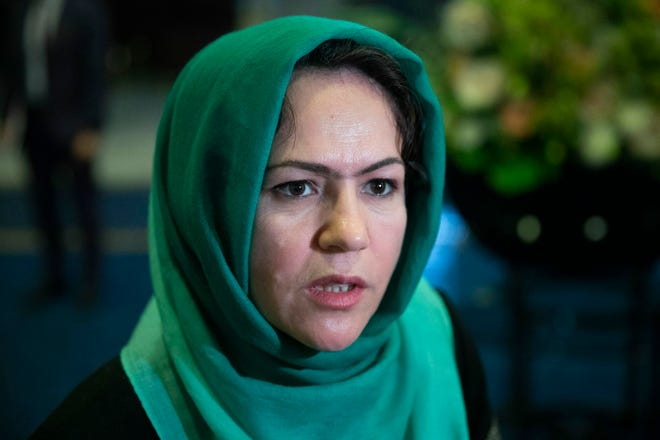 "Afghan politician Fawzia Koofi speaks to media in February 2019 before the ""intra-Afghan"" talks in Moscow, Russia. Koofi survived an assassination attempt, Afghan officials said Saturday. A spokesman for the Interior Ministry said that Koofi was attacked late Friday afternoon near the capital of Kabul returning from a visit to the northern province of Parwan."