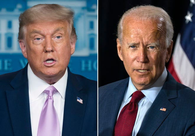 In this combination photo, President Donald Trump speaks at a news conference in Washington and Democratic presidential candidate former Vice President Joe Biden speaks in Wilmington, Del.