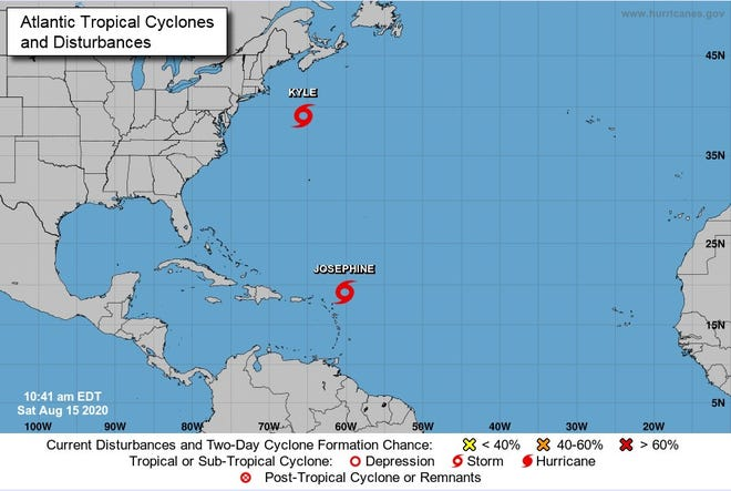 Locations of Tropical Storms Josephine and Kyle