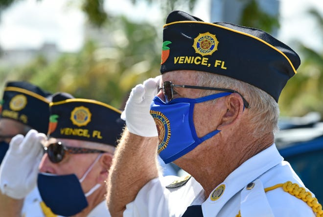 Members of the Veterans of Foreign Wars Sunshine Post 3233 held a V-J Day ceremony in August marking the 75th anniversary of the end of World War II. The ceremony was held at the Unconditional Surrender statue on Sarasota's Bayfront.