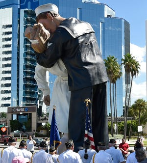 The Veterans of Foreign Wars, Sunshine Post 3233, conducted a ceremony marking the 75th anniversary of V-J Day. The ceremony was held at the Unconditional Surrender statue on Sarasota's Bayfront on Aug. 14. [HERALD-TRIBUNE ARCHIVE]