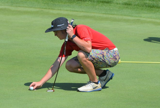 Matt Garland lines up a putt on Day 1 of the 2020 Cal=Am Golf Championship on Saturday at Binder Park Golf Course.