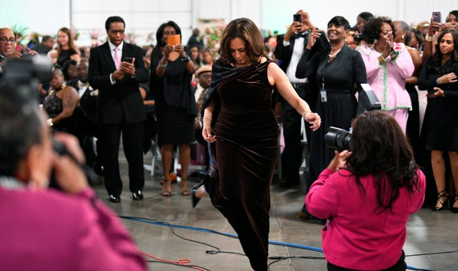 California Sen. Kamala Harris appears at the Pink Ice Gala, hosted by the Alpha Kappa Alpha sorority on  Jan. 25, 2019, in Columbia, S.C. Harris is a member of the sorority.