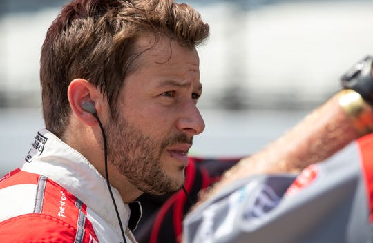 Andretti Herta Autosport with Marco & Curb-Agajanian driver Marco Andretti (98) prepares for his qualifying run for the 104th Indianapolis 500 at Indianapolis Motor Speedway on Saturday, Aug. 15, 2020.
