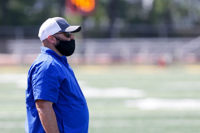 Frankfort head coach James Byers watches the play during a scrimmage, Saturday, Aug. 15, 2020 in Lafayette.